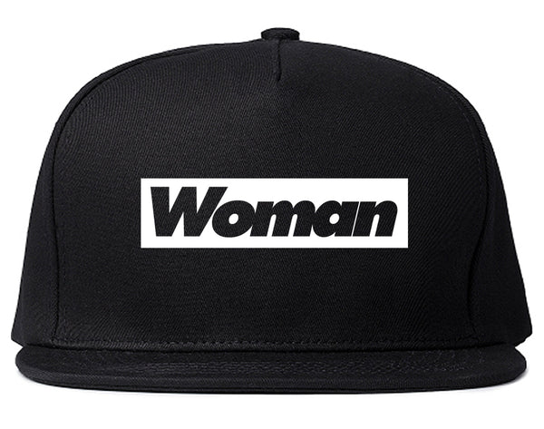 Woman Red Box Logo Snapback Hat Black