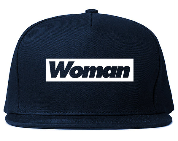Woman Red Box Logo Snapback Hat Blue