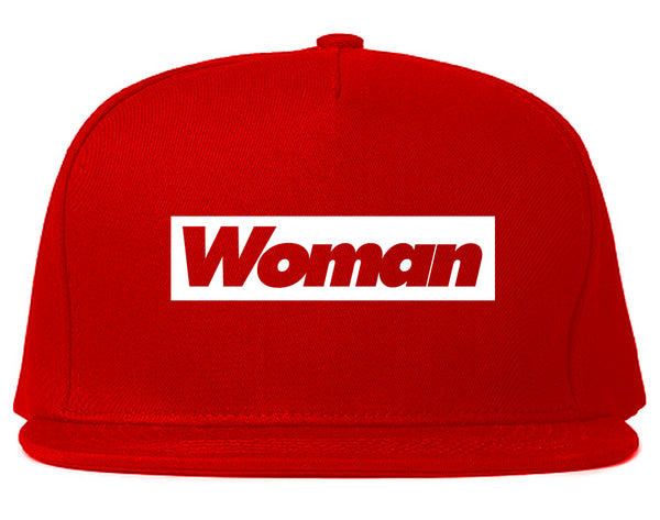 Woman Red Box Logo Snapback Hat Red