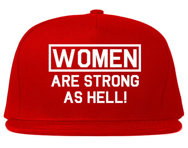 Women Are Strong As Hell Red Snapback Hat