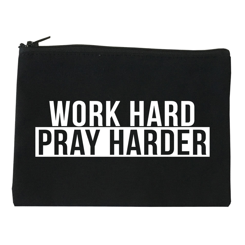Work Hard Pray Harder Makeup Bag Red
