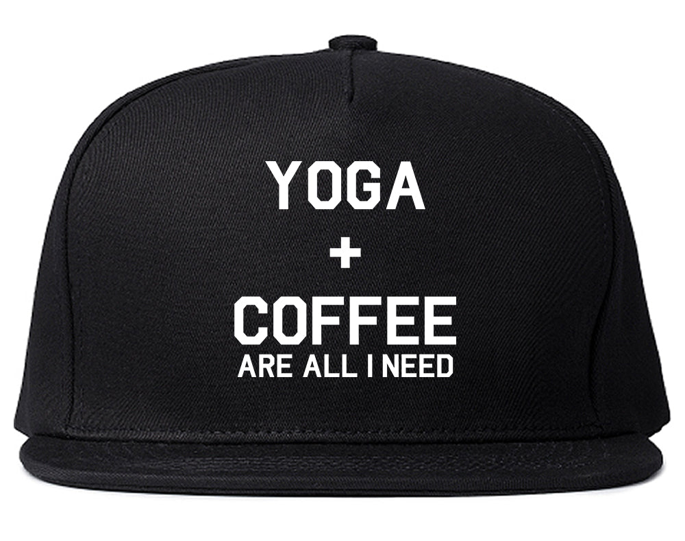 Yoga And Coffee Black Snapback Hat