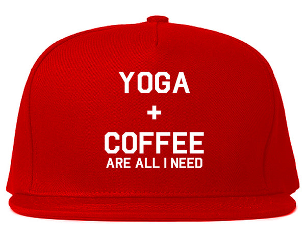 Yoga And Coffee Red Snapback Hat