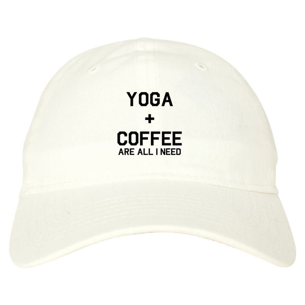 Yoga And Coffee white dad hat