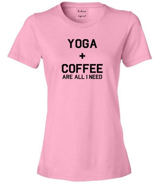 Yoga And Coffee Pink Womens T-Shirt