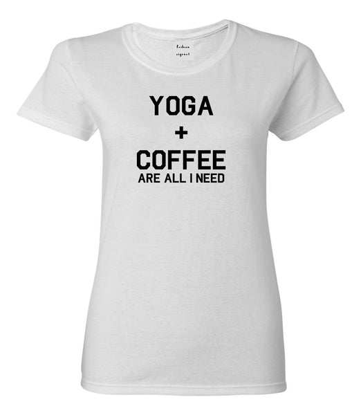 Yoga And Coffee White Womens T-Shirt