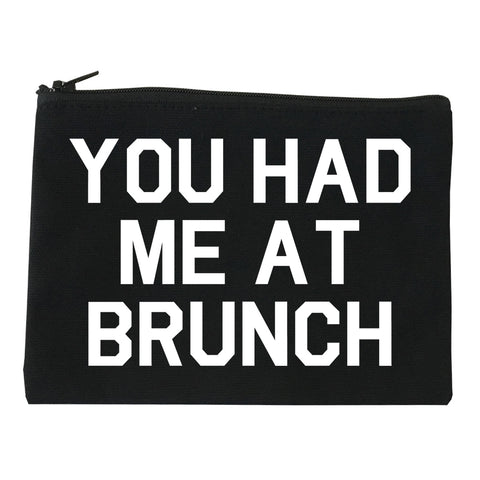 You Had Me At Brunch Food Black Makeup Bag
