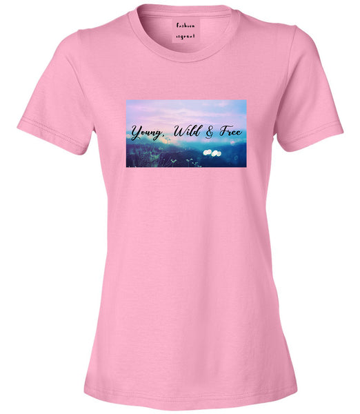 Young Wild Free Spirit Pink Womens T-Shirt