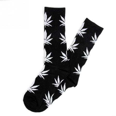 Black With White Marijuana Leaves Weed Socks