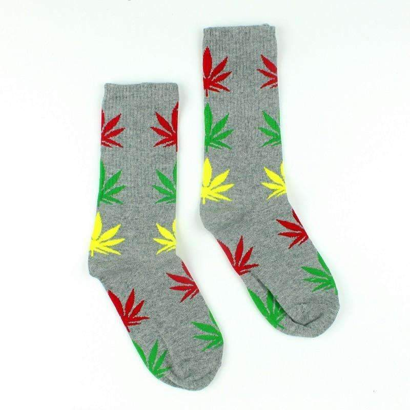 Grey With Red and Green and Yellow Marijuana Leaves Weed Socks
