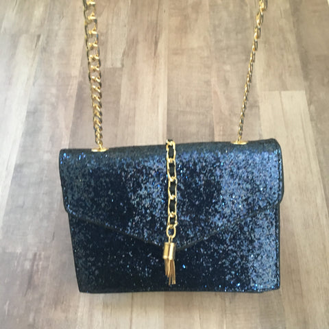 Dark Blue Glitter Clutch with Chain Strap