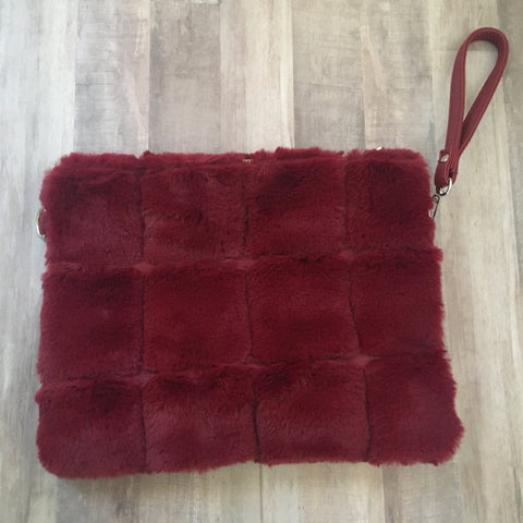 Furry Burgundy Convertible Clutch