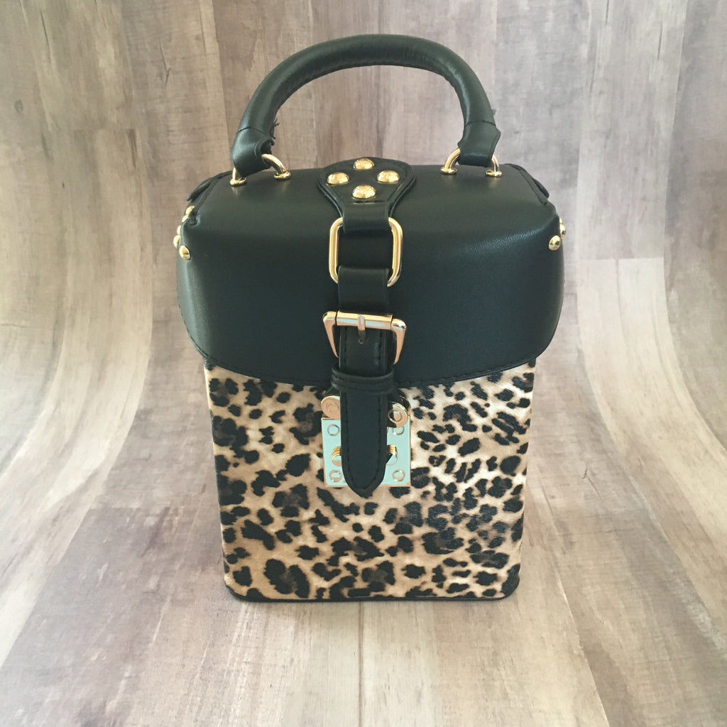 Black and Leopard Box Purse