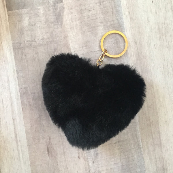 Fluffy Heart Bag Charm