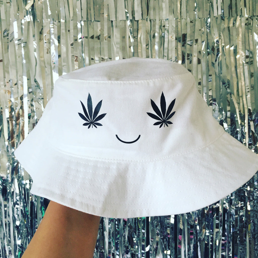 Weed Smiley Face Bucket Hat