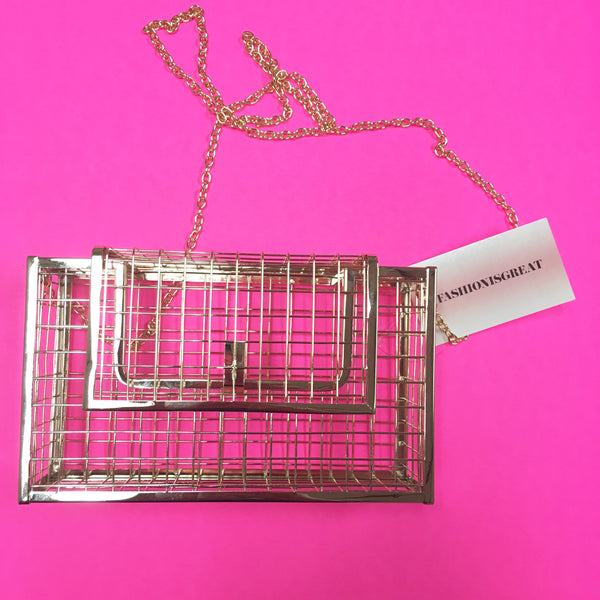 Metal Gold Cage Clutch Crossbody Purse