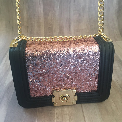 Pink Glitter Leather Boxy Bag