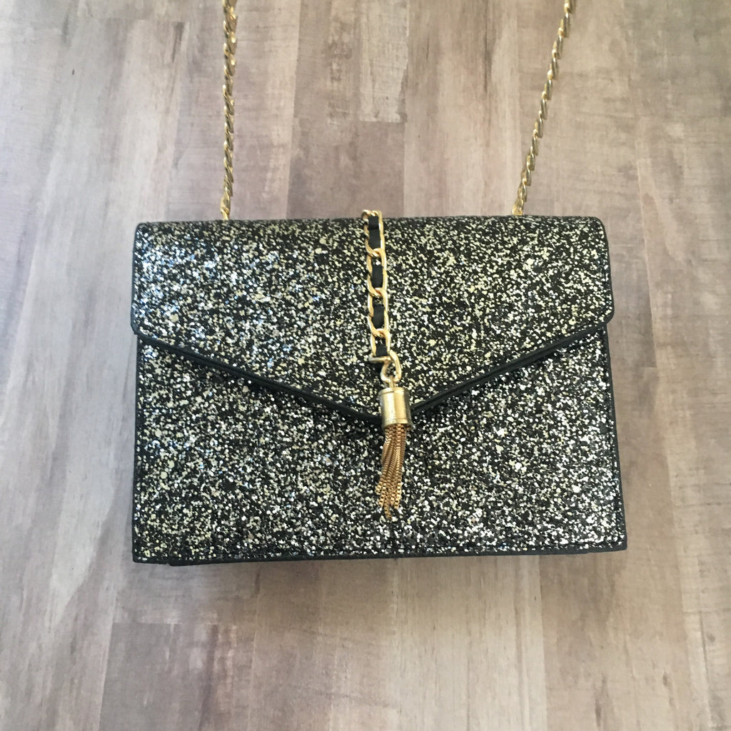 Silver Glitter Clutch with Chain Strap