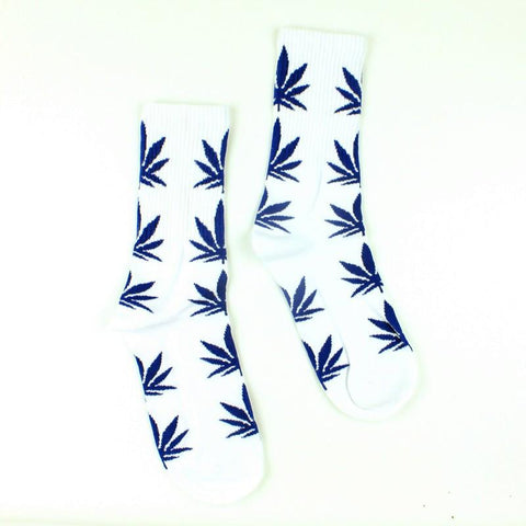 White With Blue Marijuana Leaves Weed Socks