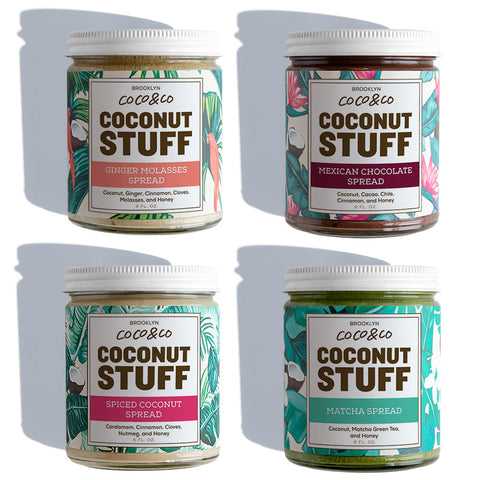 Coconut Stuff - Full Set - Four Jars on White