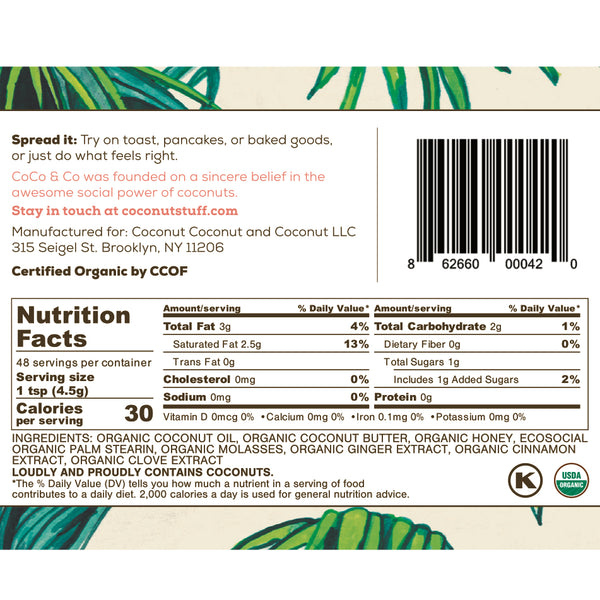 Coconut Stuff - Ginger Molasses Spread - Nutrition Facts