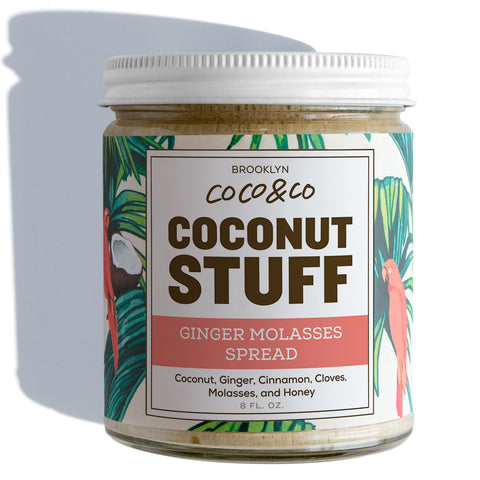 Coconut Stuff - Ginger Molasses Spread - Full Jar on White