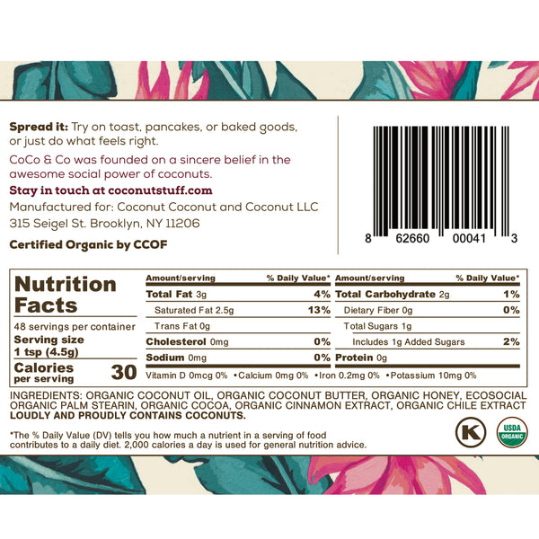 Coconut Stuff - Mexican Chocolate Spread - Nutrition Facts