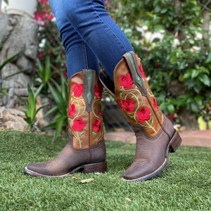 JB-1502 Chocolate Rojo - Botas Vaqueras para Mujer - Exotic boots, western boots, rodeo boots, cowboy boots - botas exoticas, botas vaqueras, botas de rodeo