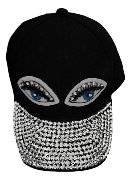 Black rhinestone bejweled womens summer cap - Jeweled cap