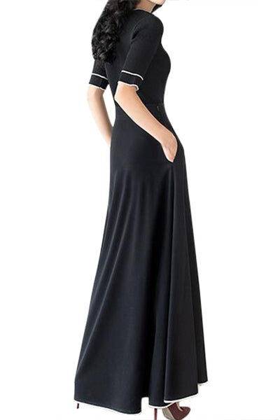 Black Retro Maxi Skirt with White Pipe Buttons - skikrt