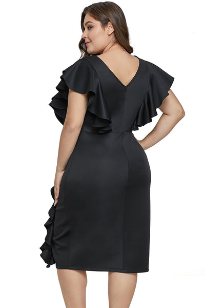 Black Ruffled Flutter Sleeve Plus Size Dress - Plus Sizes Dresses +