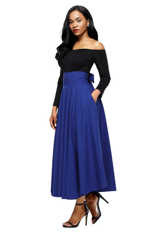 Blue Retro High Waist Pleated Belted Maxi Skirt - Skirts