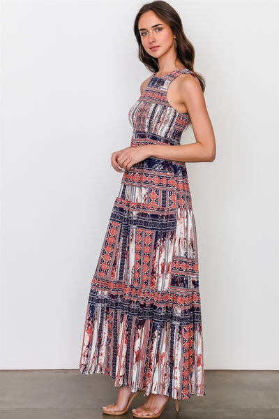 Red blue mix print sleeveless shirred maxi dress - Dresses