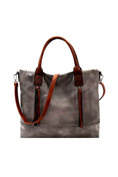 Brushed Texture 2 Way Multi Pocket Tote - Purses and Handbags