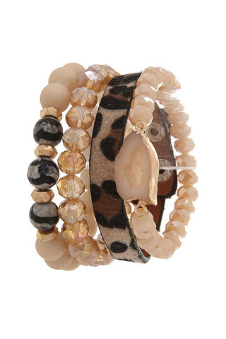 Animal Print Beaded Stretch Bracelet Set - jewelry