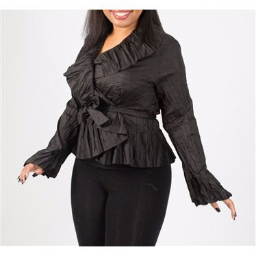 Women's top wrap ruffle blouse formal wear - Tops and Blouses-Exclusively You Fashions