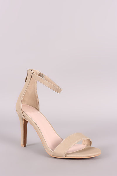 Nubuck Ankle Strap Open Toe Stiletto Heel - Shoes Heels