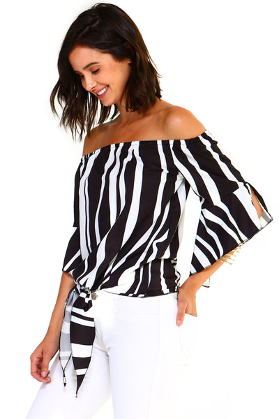 Womens Strapless Striped Bandage Blouse - Clothes Tops