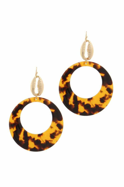 Acetate Circle Cowrie Seashell Charm Drop Earring - jewelry