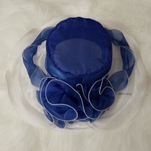 Beautiful Blue and White Organza Hat - Hat