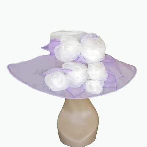 Beautiful Lavender with White Rose bouquet - Hat