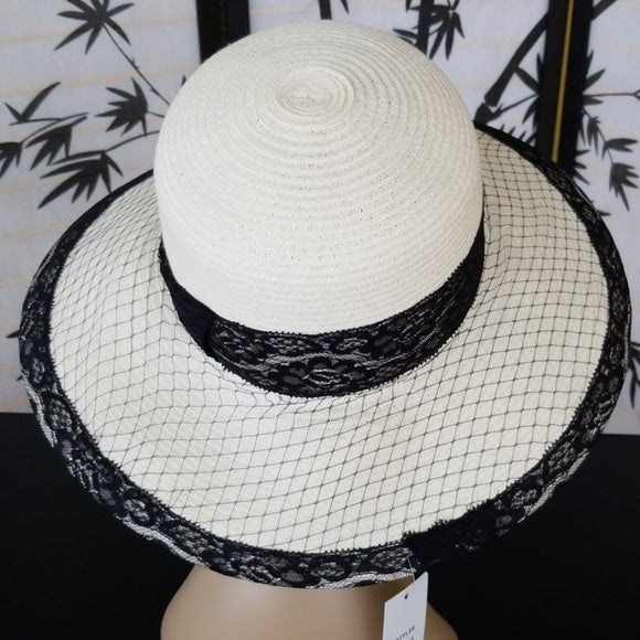 Beige Hat with Black Lace - Hat