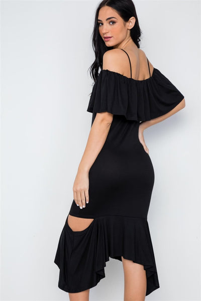 Black Cami Flounce Cut Out Dress - Dresses