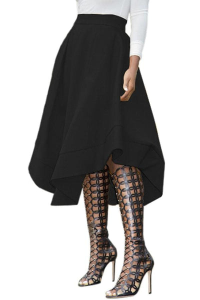 Black Midi skirt with curved hemlines - Clothes Skirts & Midi