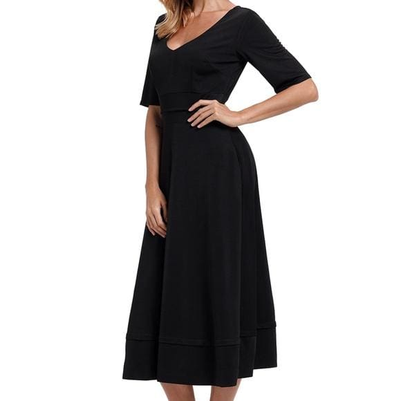 Black V Neck High Waist Flared Dress - dress