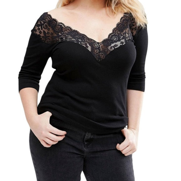 Off the shoulder black blouse with lace top - Tops and Blouses