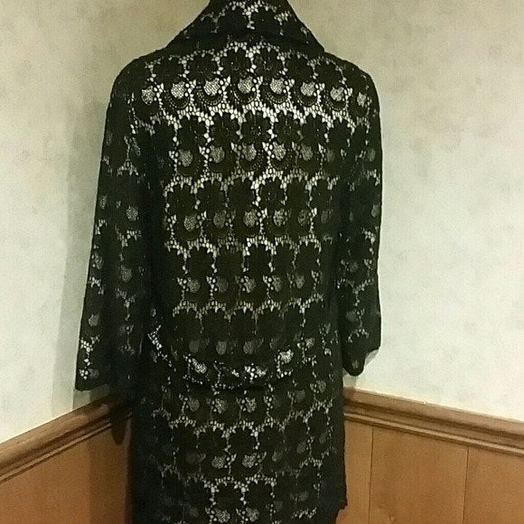 Womens NWT black and gold lace jacket. Size L - Jackets and Blazers