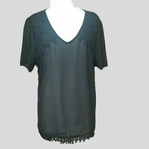Womens Plus Size black top with lace - Tops and Blouses