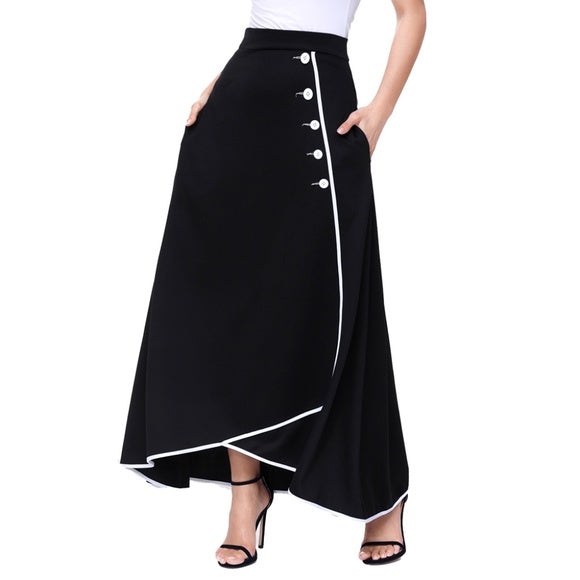 Black Retro Maxi Skirt with White Pipe Buttons - XL / Black - skikrt