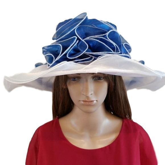 Blue and White Dress Hat - Hat